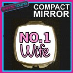 NUMBER ONE 1 WIFE COMPACT LADIES METAL HANDBAG GIFT MIRROR